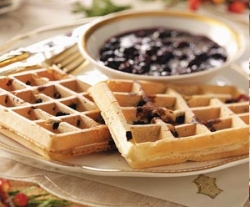 Waffles with Blueberry Sauce
